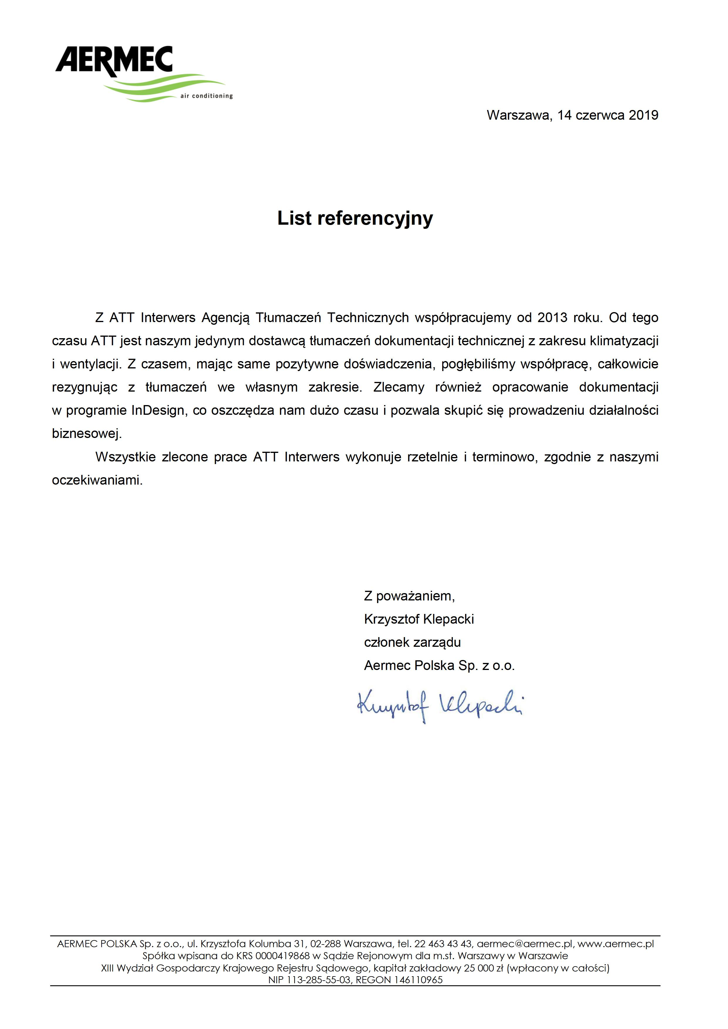 Aermec List referenacyjny